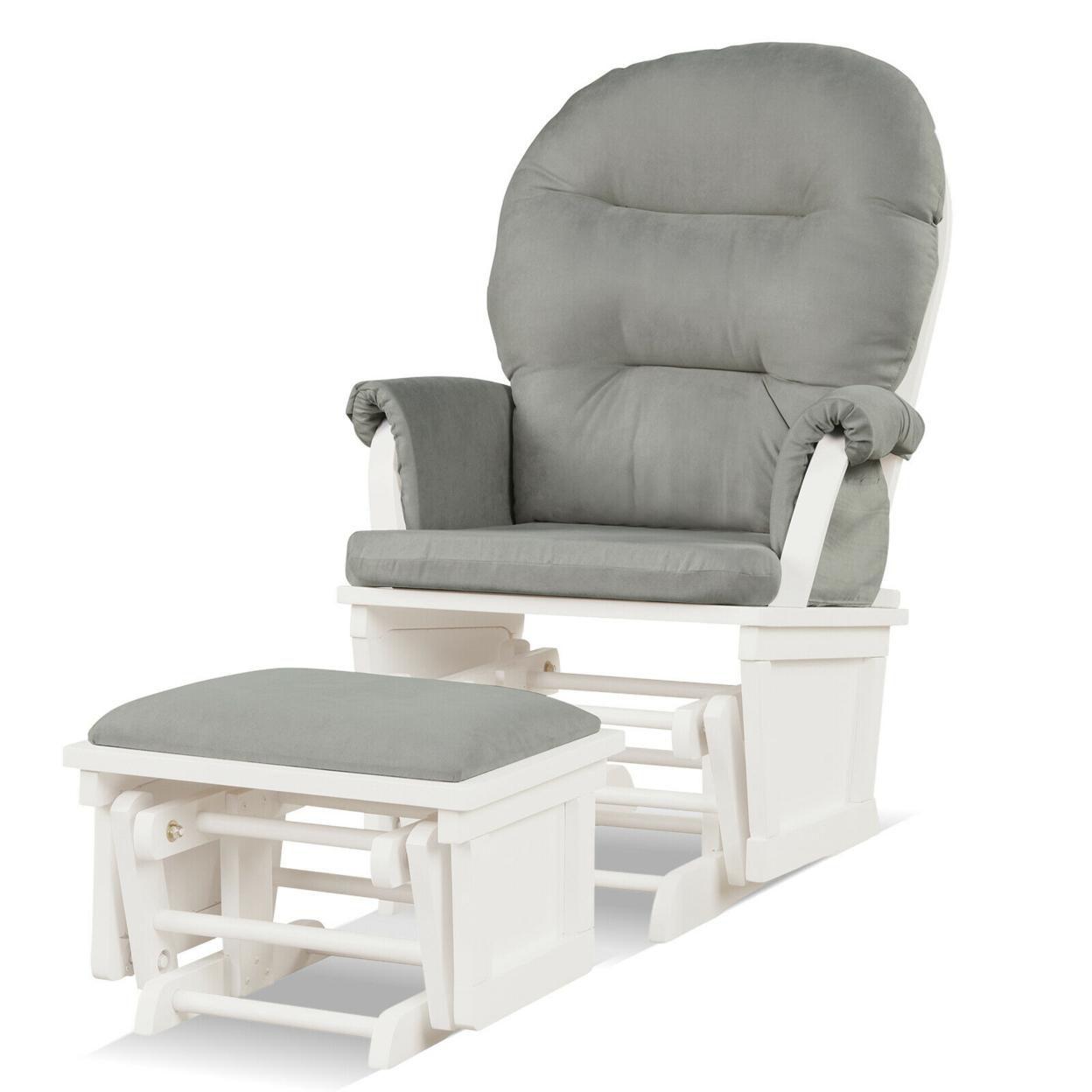 Gymax Wood Glider & Ottoman Cushion Set Baby Nursery Rocking Chair