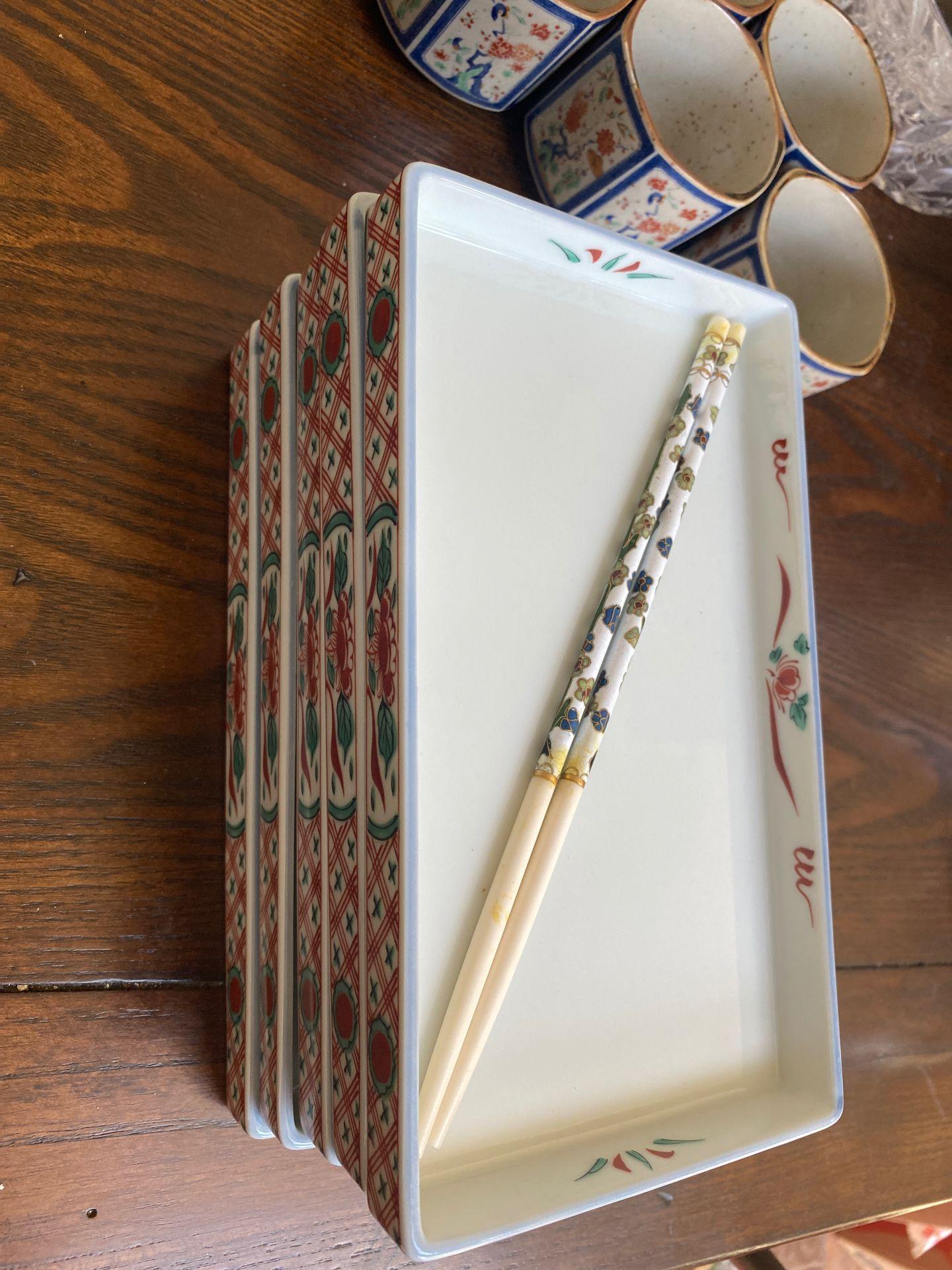 5 piece sushi set. Beautiful chopsticks. Authentic Japanese.