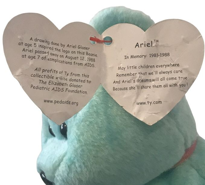 Ty Beanie Babies Ariel The Bear Blue Plush Beanbag Toy -Collectable/Collectible