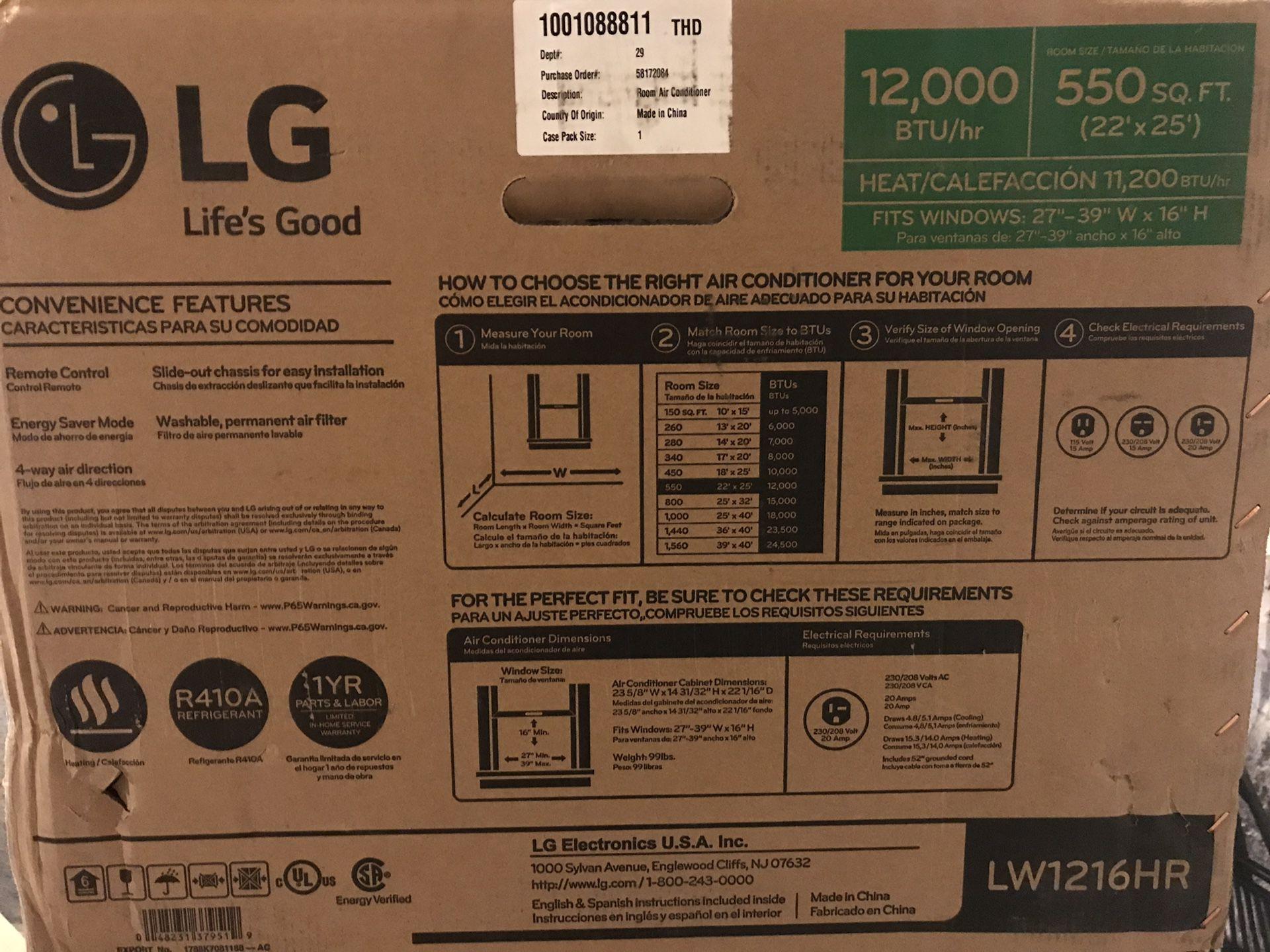 LG window air conditioner plus heating unit