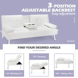 Costway Convertible Folding Futon Sofa Bed Leather w/Cup Holders&Armrests White Thumbnail