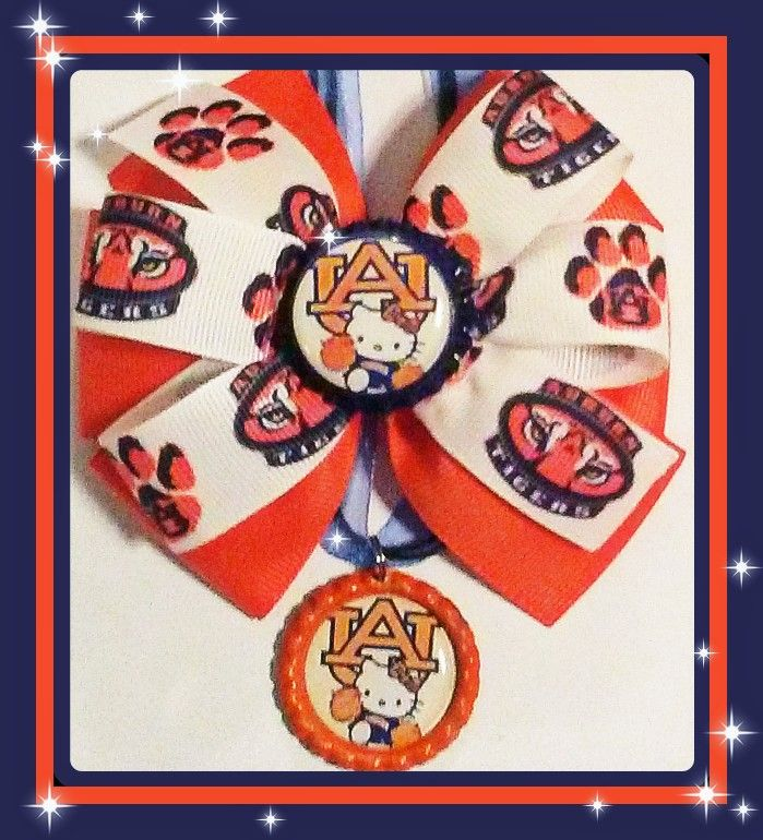Auburn Tigers hair bow and necklace gift set