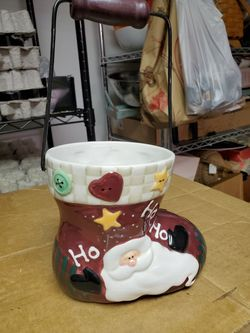 Holiday Christmas Santa Claus Ceramic Stocking Decor Container Thumbnail