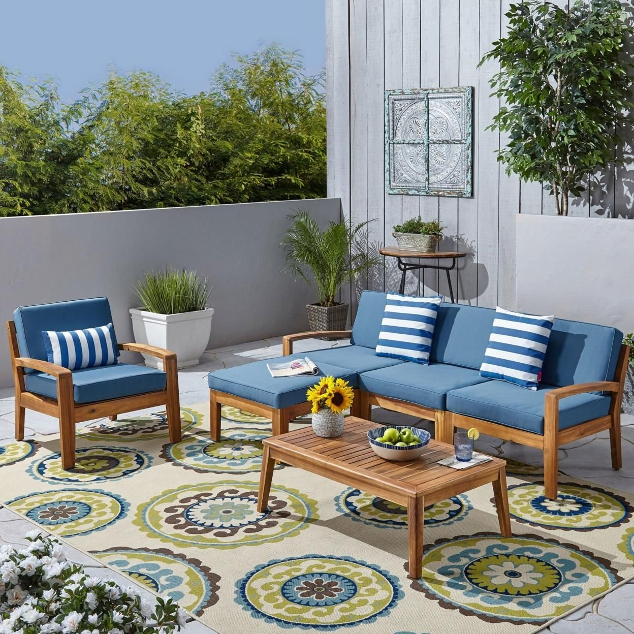Parma 4-Seater Sectional Sofa Set For Patio with Club Chair