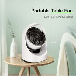 Air Circulator Fan Rechargeable Desk Fan Portable Oscillating Cordless Fan with LED Light 4 Speeds USB Powered Quiet Table Fan for Home Office Bedroom Thumbnail