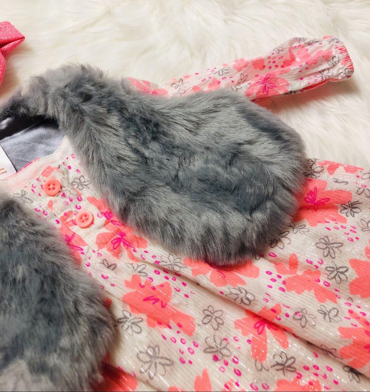 Cat & Jack Dress w/ Faux Fur Vest *3-6 Months