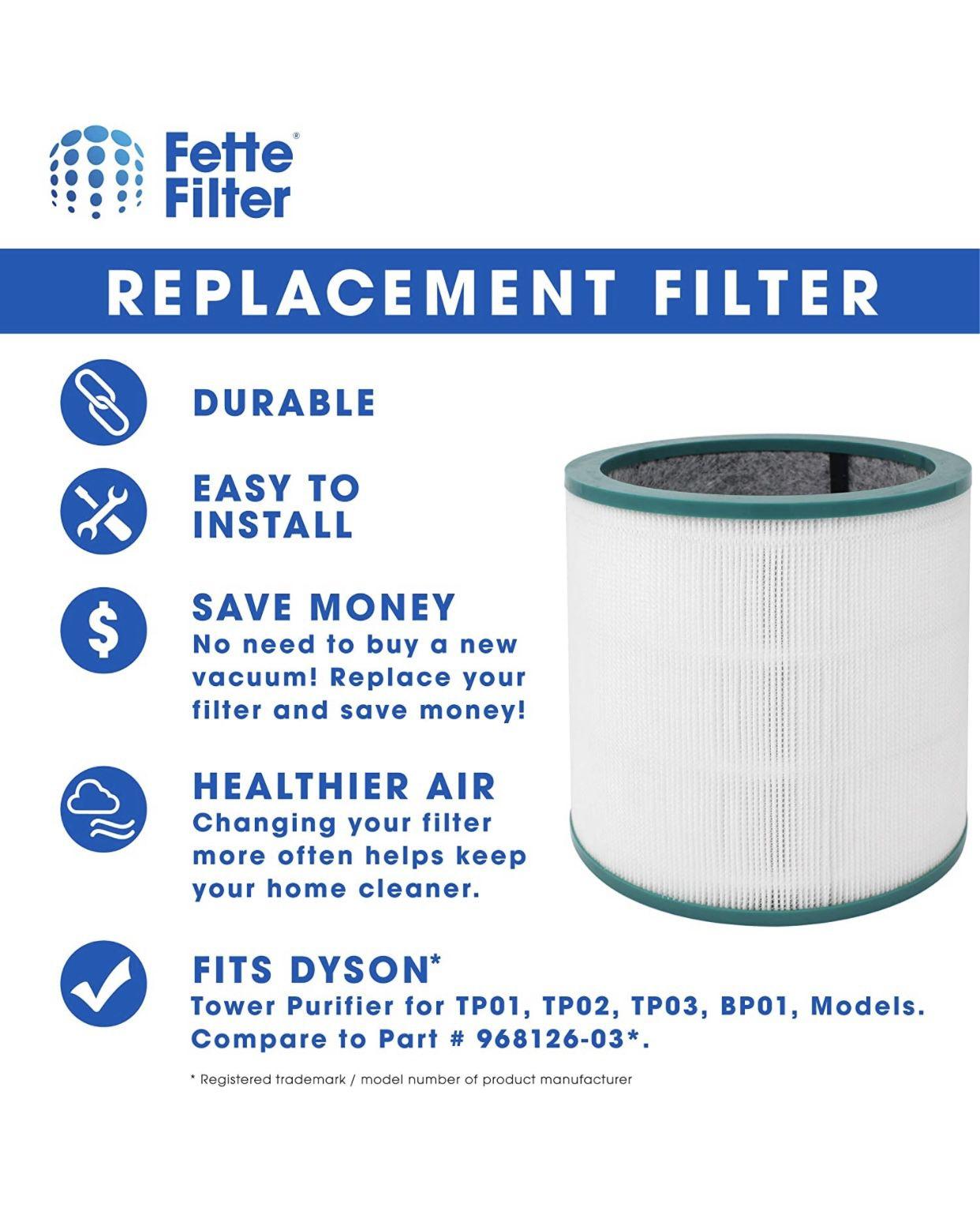 ars  990 R Fette Filter - 2 Pack of Air Purifier True HEPA Premium Grade Filters