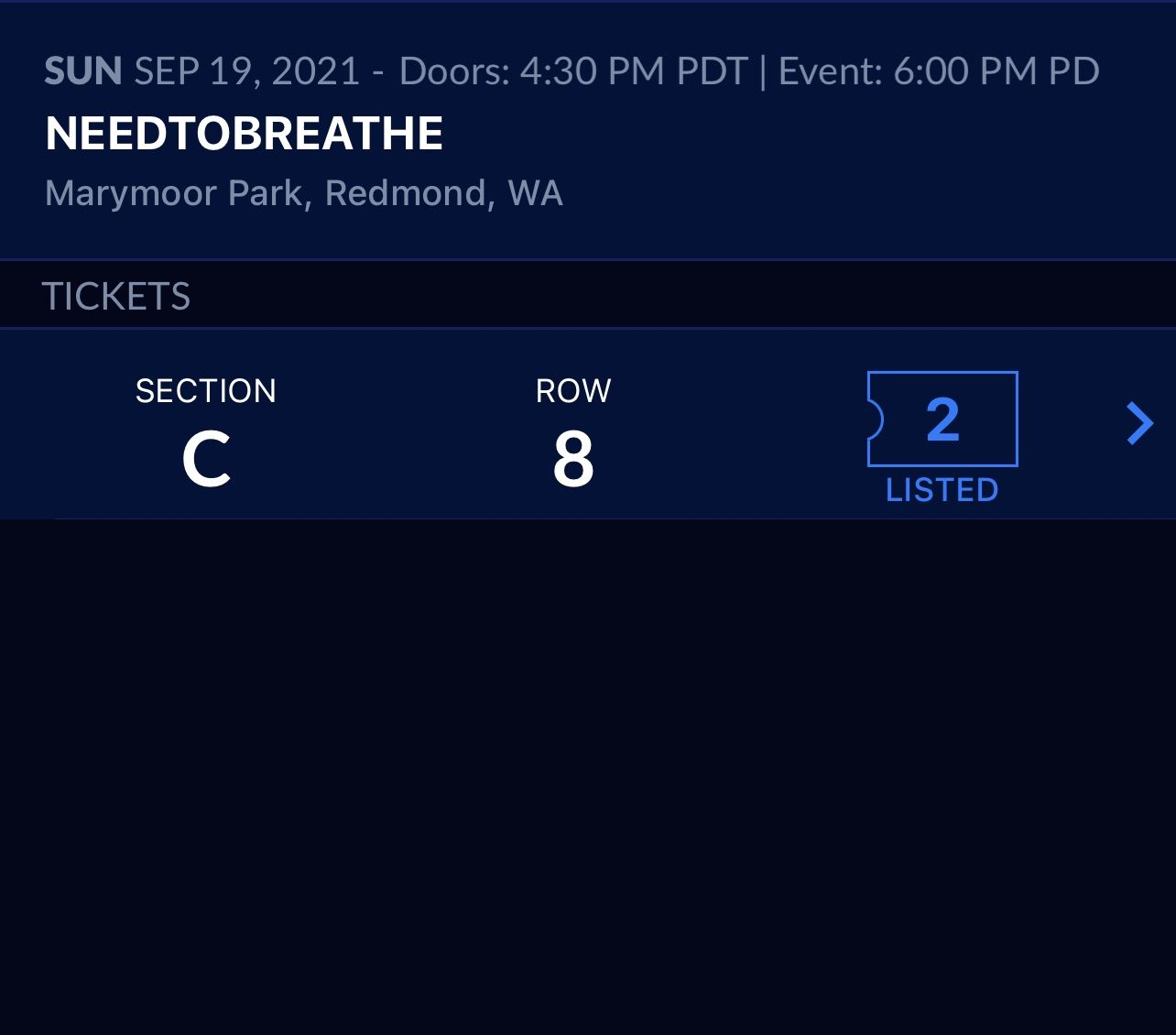 NEEDTOBREATHE, 2 Tickets Section C Row 8, Marymoor Park