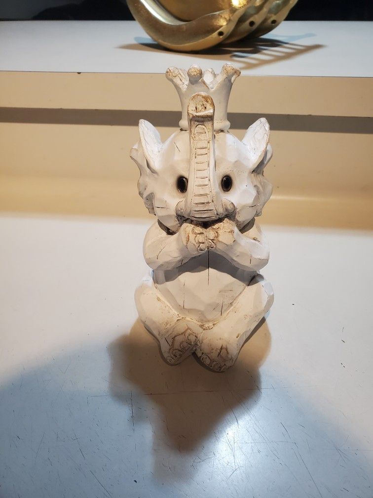 White Wood Elephant Baby Cute Figurine
