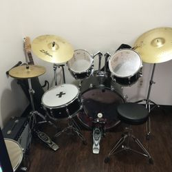 Eight Piece Drum Set Two Pair Of Sticks One Set Of Brushes Guitar Not Included, Or Your Best Offer. Thumbnail