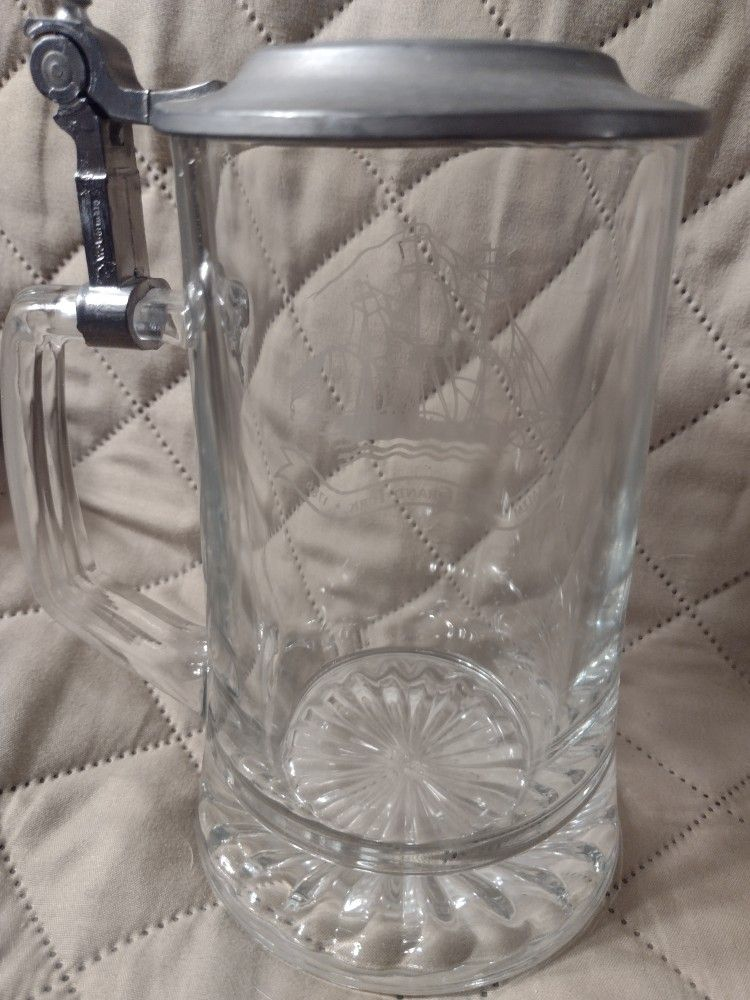 Nice Vintage Old Spice Etched Glass Stein / Mug A W L E Pewter Lid