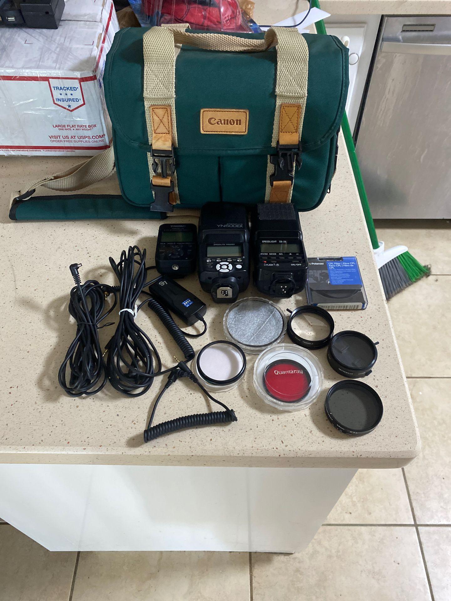 Nikon Speedlight + Yougnuo Speedlite & Wireless Flash Contoller + Lenses & Bag