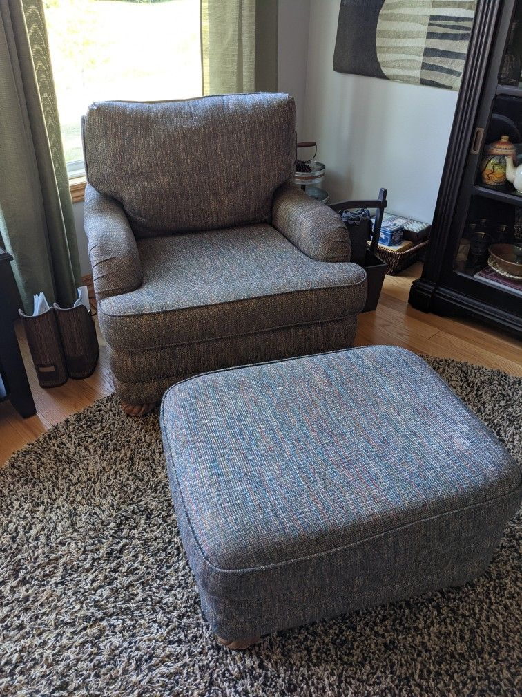 Pair Of Bassett Chairs With Matching Ottoman