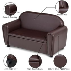Gymax Kids Sofa Armrest Chair Lounge Couch Wood Construction Storage Box Living Room Thumbnail
