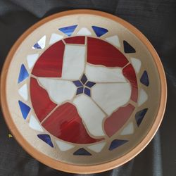 Potworks(California) terracotta warming platter w multi-colored stained glass design w state of Texas in the center Thumbnail