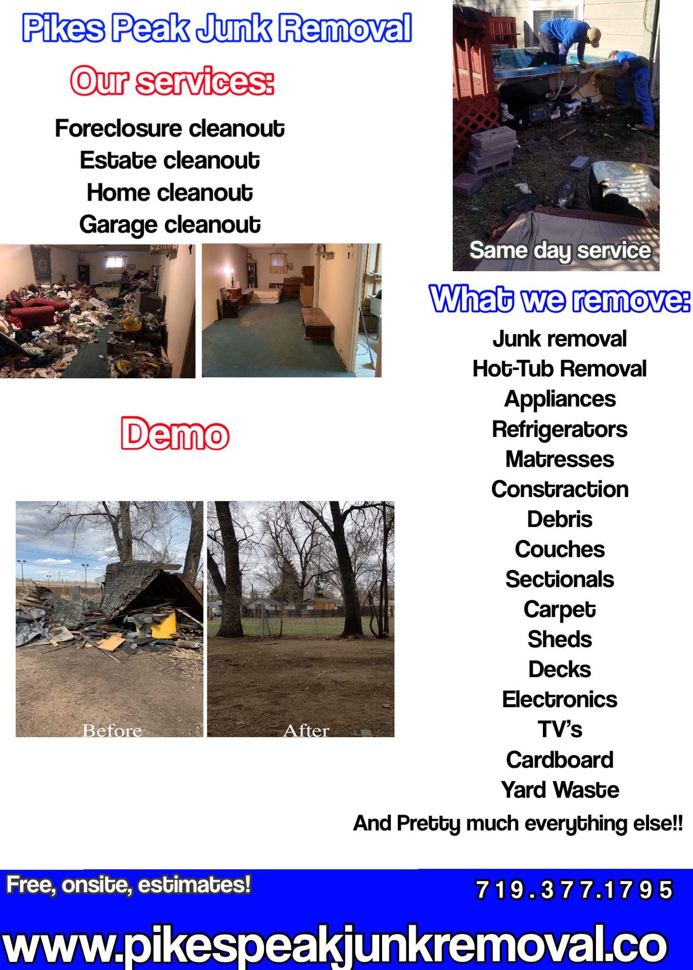 Junk/Trash/Hot-Tub/Deck/Shed Removal, Hauling & Demos