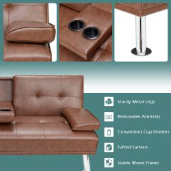 Costway Convertible Folding Futon Sofa Bed Leather w/Cup Holders&Armrests Brown Thumbnail