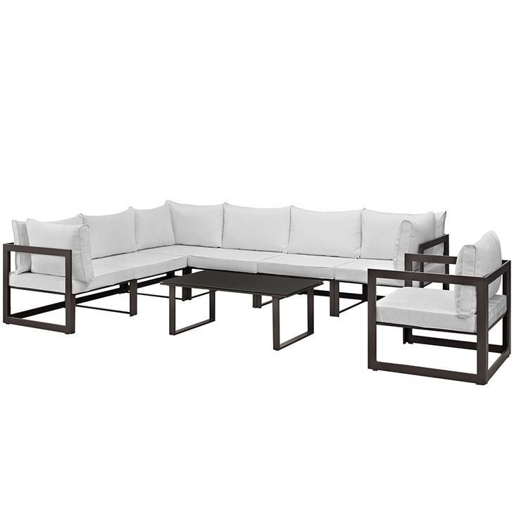 Fortuna 8 Piece Outdoor Patio Sectional Sofa Set, Brown White, EEI-1736-BRN-WHI-SET