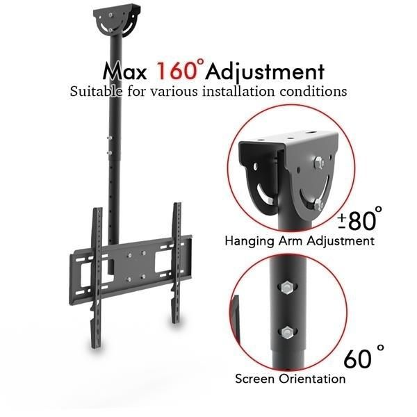 """LEADZM TMC-7006 Ceiling Mount TV Wall Bracket Roof Rack Pole Retractable For 32""""-70"""" Flat Screen"""