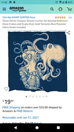 Society6 Octopus Shower Curtain Set Nautical Bathroom Decor Kraken and Scuba Diver Gold Tentacles Blue Polyester Fabric clear plasti hooks included Thumbnail