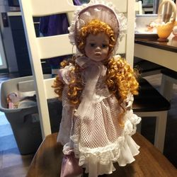 Porcelain Doll With Red Hair And Stand Thumbnail