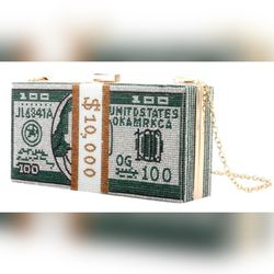 Women's Green Bedazzled & Pearls Crossbody/Clutch Gold Chain Money Bag Thumbnail