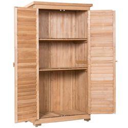 Gymax Outdoor 63'' Tall Wooden Garden Storage Shed Fir Wood Shutter Design Lockers Thumbnail