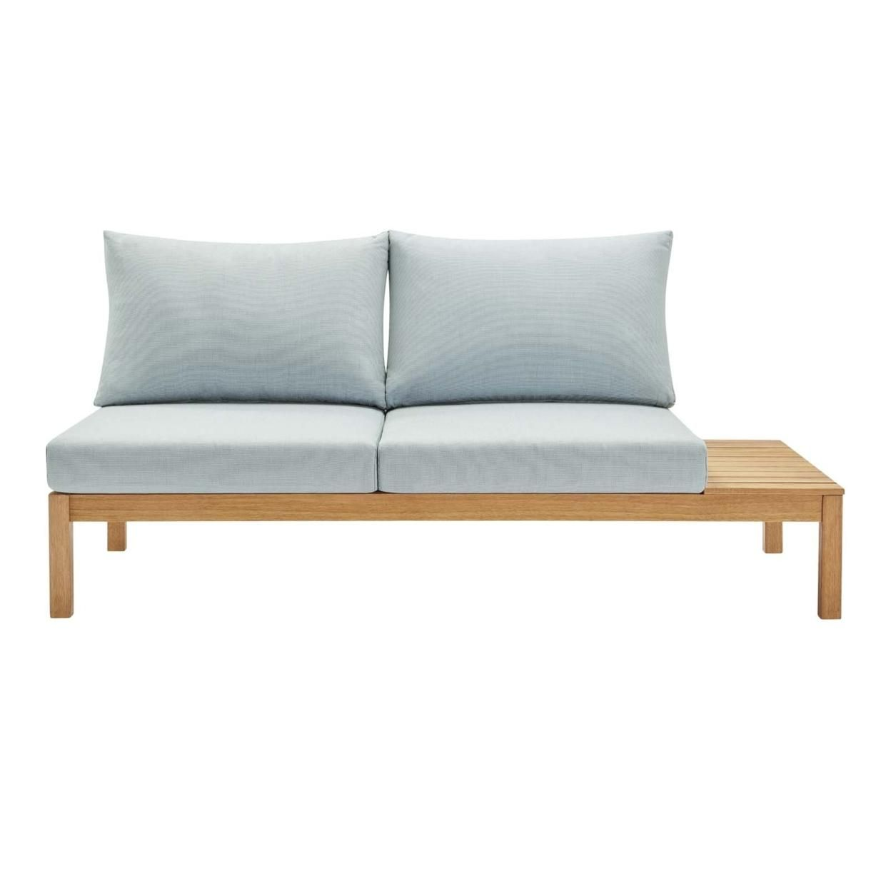Freeport Karri Wood Outdoor Patio Loveseat with Right-Facing Side End Table, Natural Light Blue