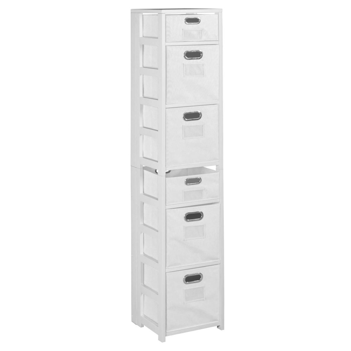 Regency & Niche FFSQ6712WHWH 67 in. Flip Flop Square Folding Bookcase with Folding Fabric Bins- White & White