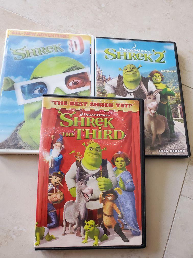 Shrek 1. 3-D with glasses Shrek 2 and 3