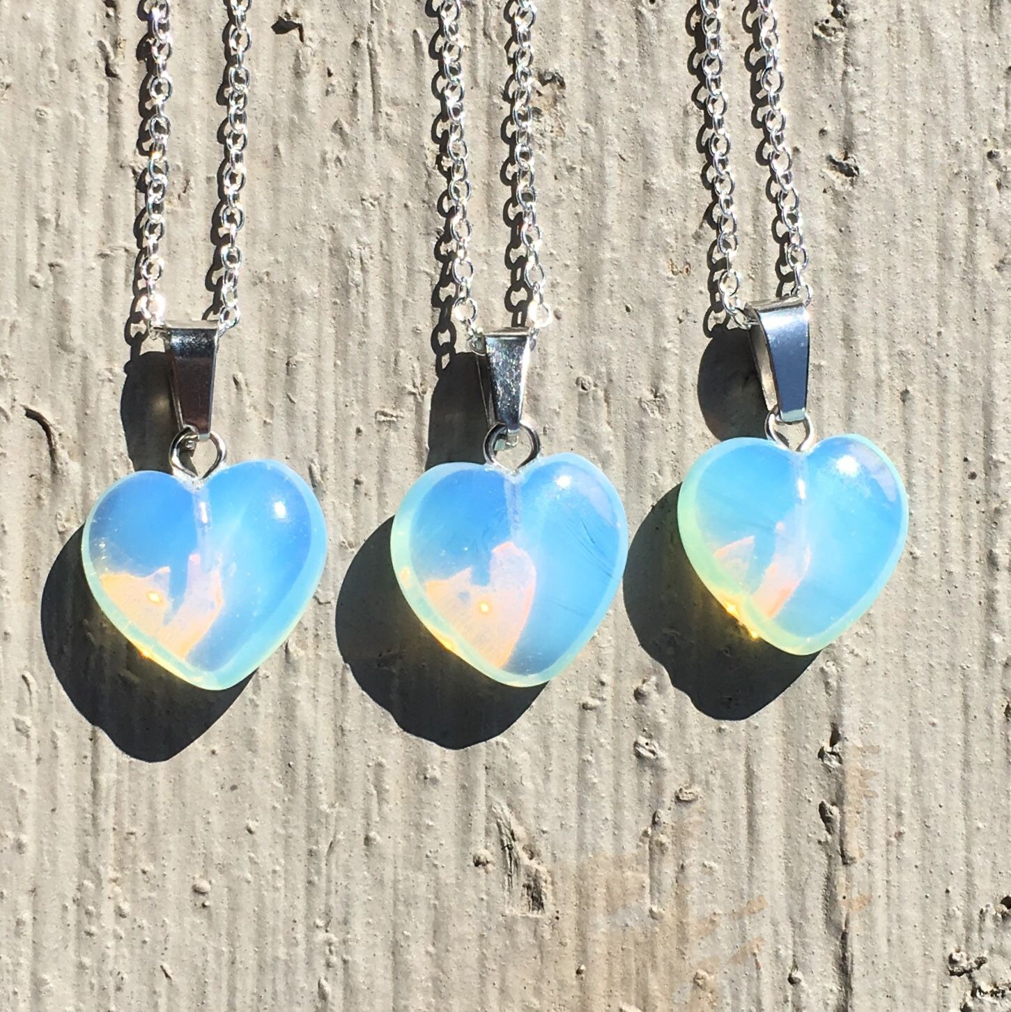 Sea Opal Heart Necklace with Sterling Silver Chain // Opal Opalite Moonstone Jewelry