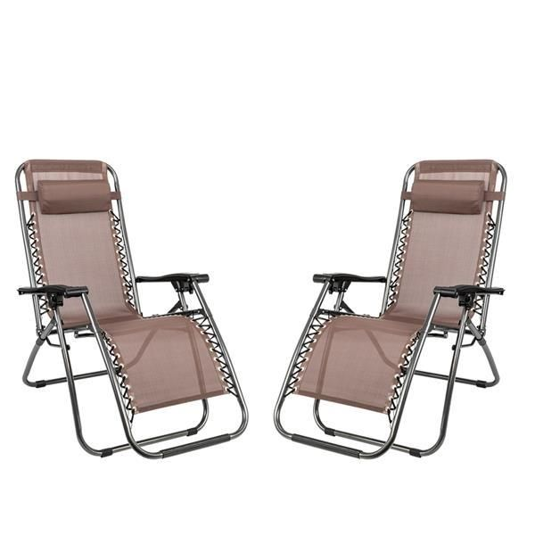 2pcs Plum Blossom Lock Portable Folding Chairs with Saucer Brown