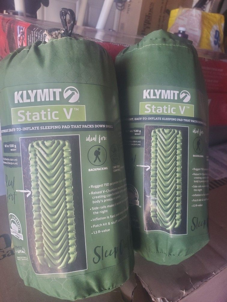 New Klymit Static V Outdoor Camping Sleeping Pad 73×23 In.. Below Retail Price 4left Retails For $55 Selling For $30each ..