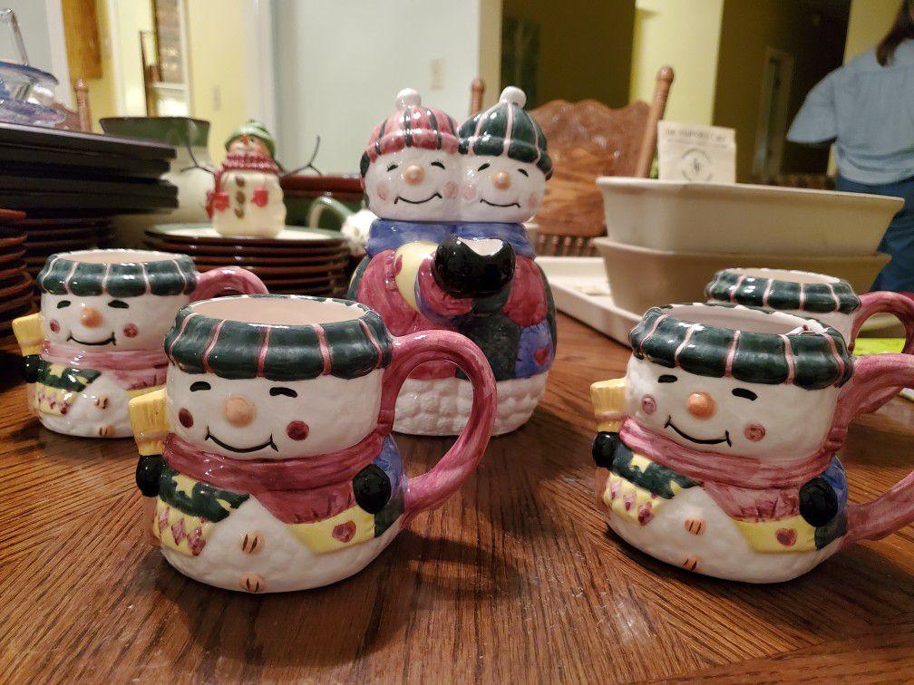 Snowmen tea pot set