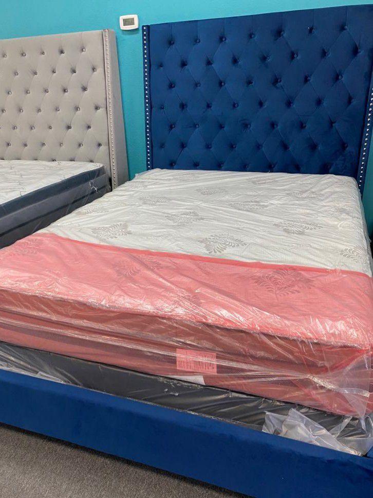 Queen bed frame with mattress set pillow top