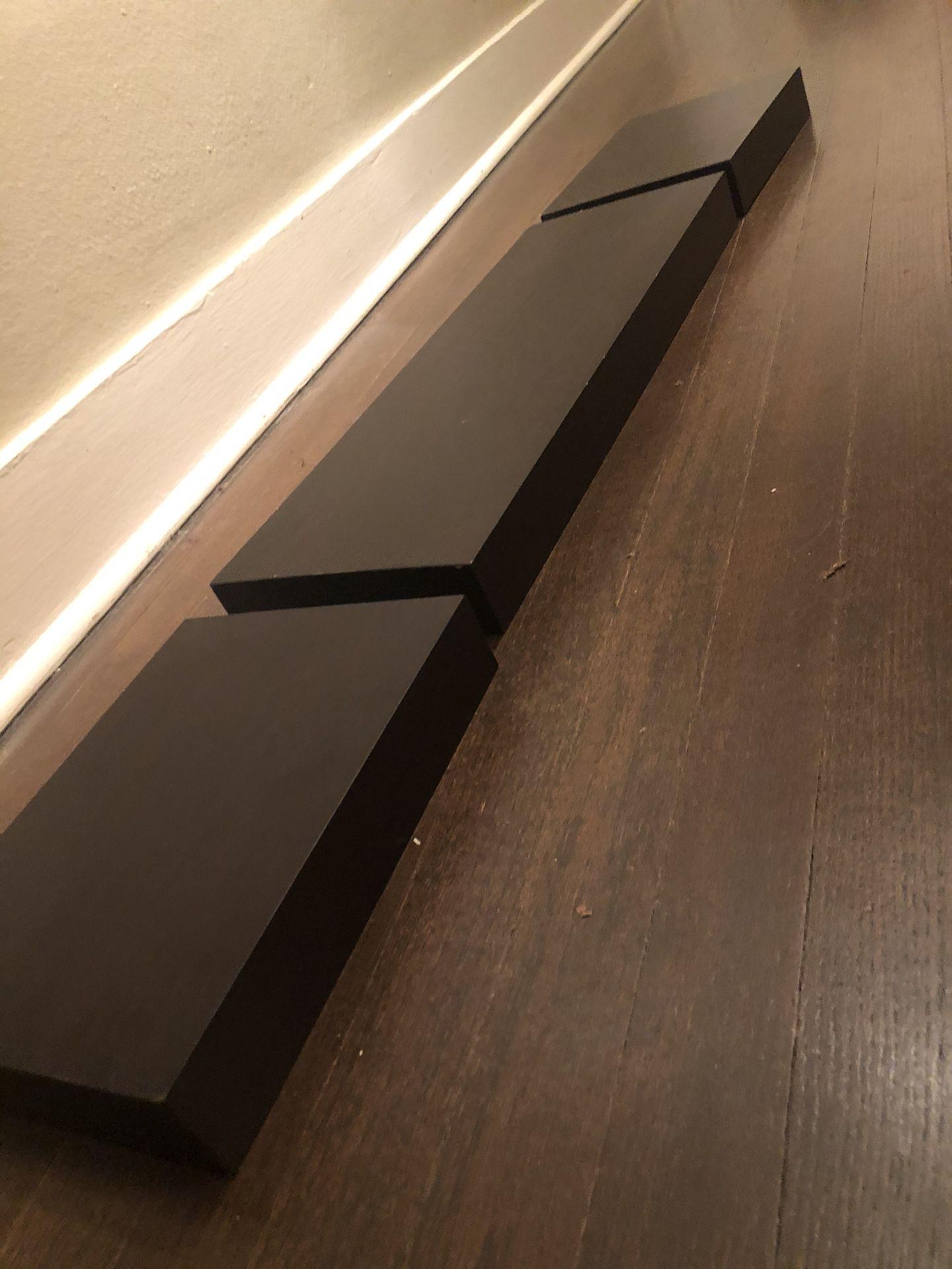 Three Dark Brown Floating Shelves (brackets included)