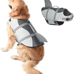 Dog Shark Life, Jacket Dog Life Vest for Swimming, Pet Life Preserver with Rescue Handle, Size L Thumbnail
