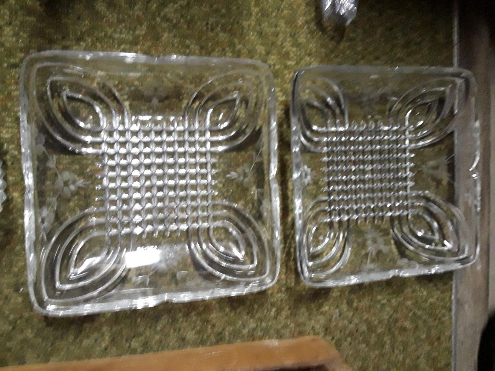 Large crystal serving dishes