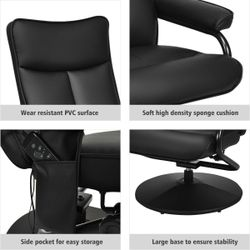 Massage Recliner Couch Chair Lounge Swivel w/Ottoman Side Pocket Remote Control Thumbnail