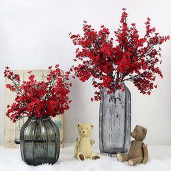 Cloth Artificial Flowers 6 Bundle European, Color: Red-6pcs Thumbnail
