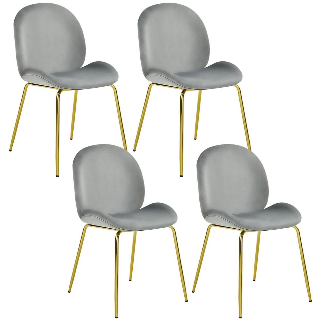 Gymax 4PCS Velvet Dining Chair Accent Leisure Chair Armless Side Chair
