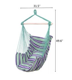 Deluxe Hanging Rope Chair  *Canvas Porch Swing/Yard Garden/Patio Hammock * $50/each or 2/$85 Blue/green Stripes Thumbnail