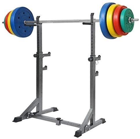 Power and Squat Rack, Adjustable Barbell Rack,Olympic Weight Plate Storage and 360° Swivel Landmine and Power Band