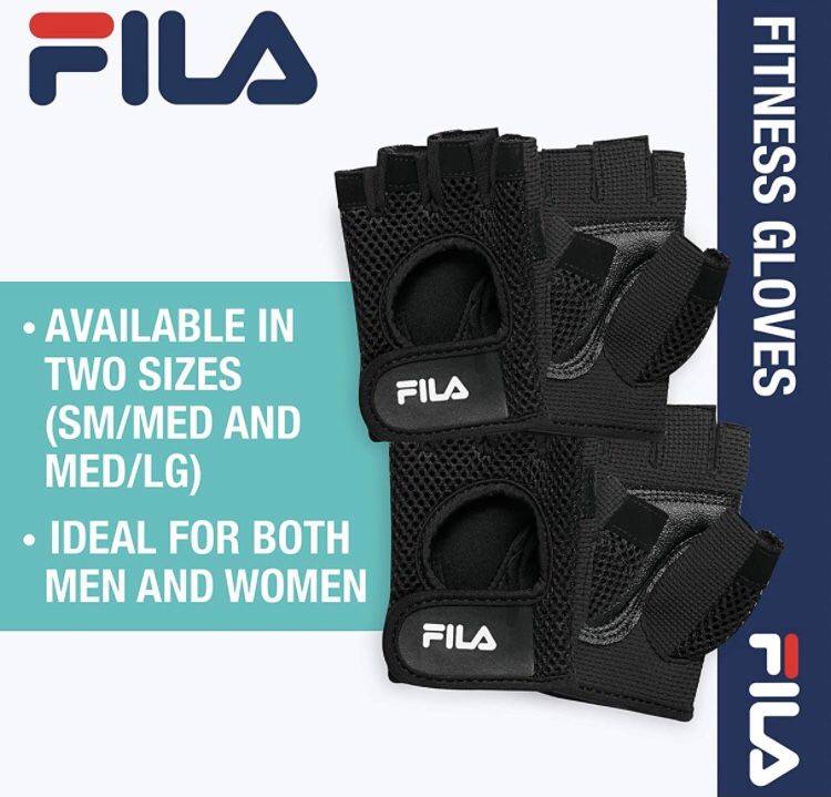 FILA Accessories Exercise Gloves - Classic Fitness Workout Gloves for Men & Women   Padded Palm Breathable Mesh   Ideal for Weightlifting, Floor Gym R