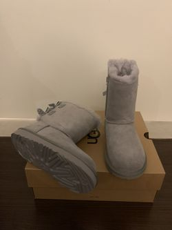 100% Authentic Brand New in Box UGG Bailey Bow Polka Boots / Color: Grey / Toddler size 7 and 11 Thumbnail