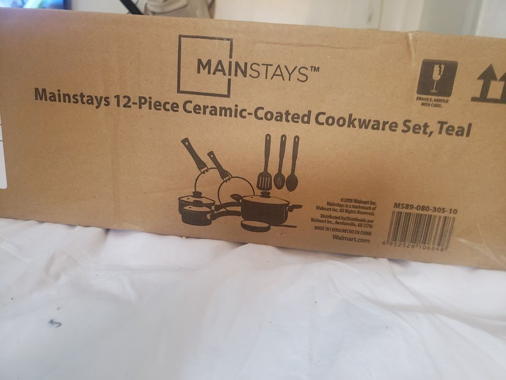 Maintstays 12 pieces ceramic coated cookware set teal