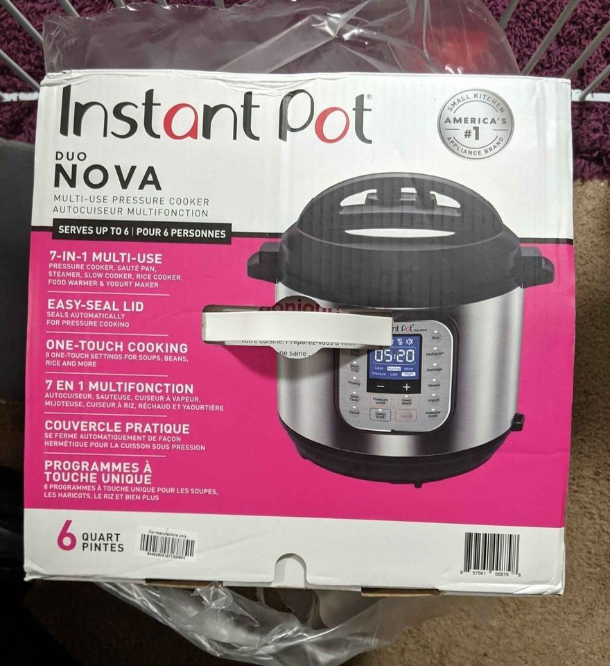 NEW BOXED Instant Pot Duo Nova 6qt 7 in 1 Multi Use Pressure Cooker