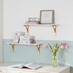 Home Decorators Collection 8 in. H x 24 in. W x 8 in. D Marble Wall-Mount Shelf with Gold Metal Brackets (Set of 2)  - #67385-OS  Thumbnail
