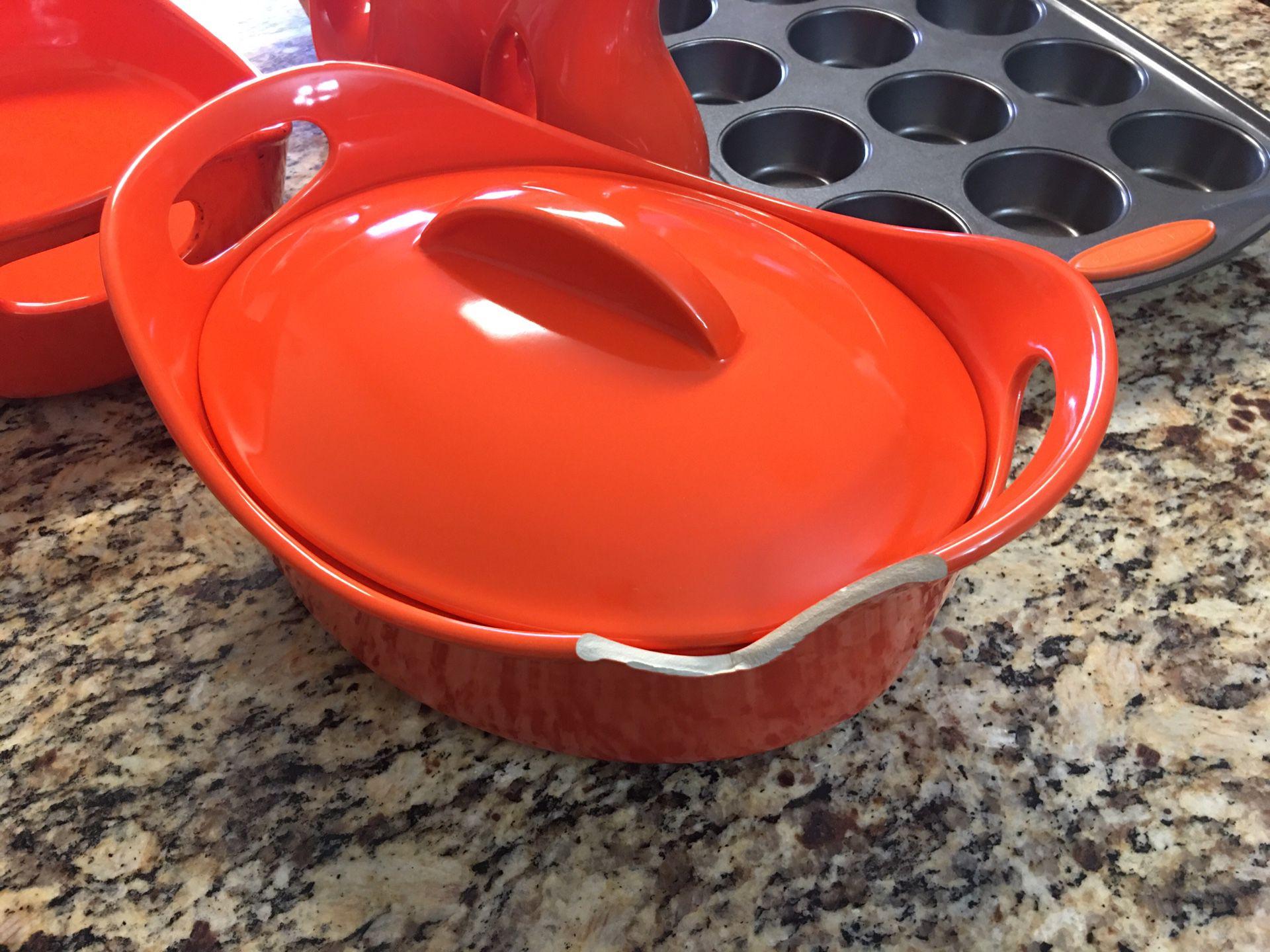 Rachel Ray Bakeware | Casserole dishes, Non-Stick Muffin Sheet Pan, & EVOO and Vinegar Bottle Set