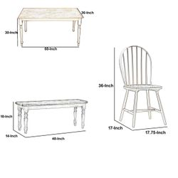 Saltoro Sherpi 6 Piece Farmhouse Wooden Dining Set, White and Brown Thumbnail